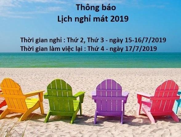 Lịch nghỉ hè năm 2019